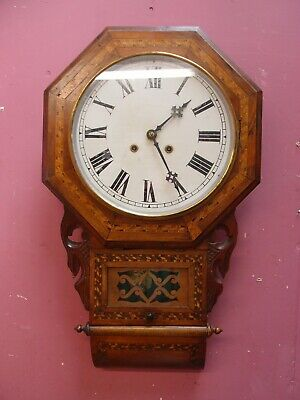 "Antique Inlaid Pendulum Wall Drop Dial Clock ""New Haven"" Usa 8 Day Movement"