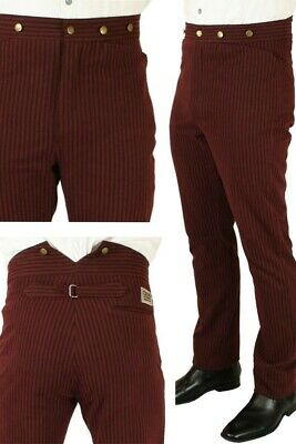 """Mens Burgundy 36"""" Outlaw high waisted wild west steampunk Deadwood pants"""
