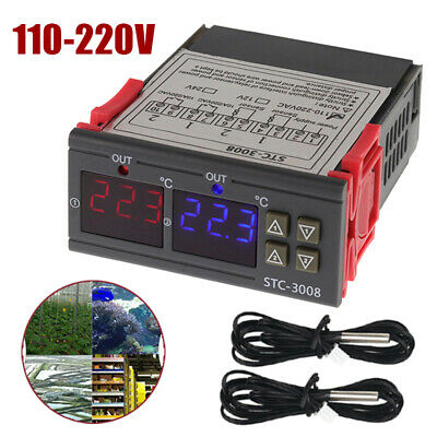 110V-220V STC-3008 Two Relay Digital Temperature Controller Thermostat Sensor GL