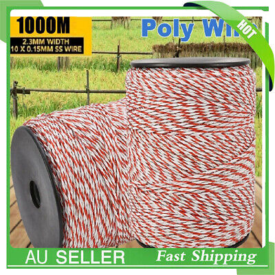 Polywire Roll Electric Fence Energiser Stainless Steel Poly Wire Insulator 1000m