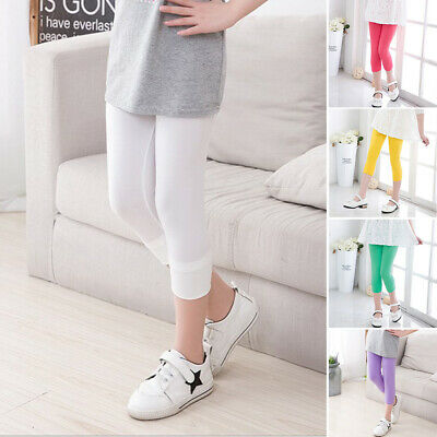 New Kids Girl Solid Color Cotton Tight Leggings Comfort Children Cropped Pants
