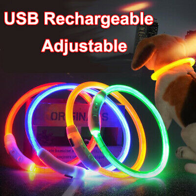 USB Rechargeable LED Dog Pet Safety Collar Night Light Up Glow Adjustable Bright
