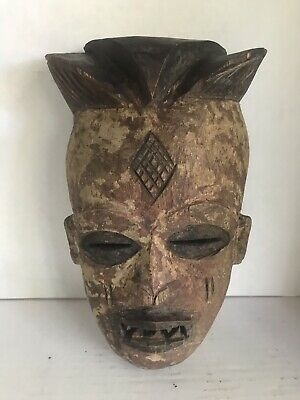 "African Old Wood Hand Carved Face Mask Primitive Very Rustic 13"" From Indonesia"