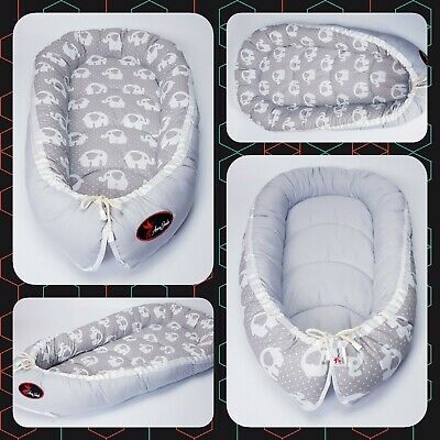 BABY NEST POD COCOON normal size 0-6 m HIGH QUALITY elephant on dots grey funny