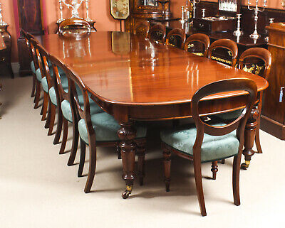 Antique 12 ft  Victorian D-end Mahogany Dining Table & 14 chairs 19th C