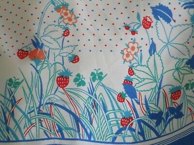 Vintage St Michael M&S Scarf Italy  1970S Blue White Red Spots Strawberries