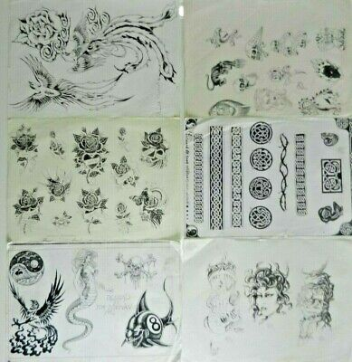 6 A3 vintage tattoo flash sheets old copies GRAHAM TOWNSEND TONY CLIFTON