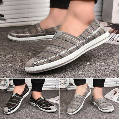 Male Breathable Non Skid Low Top Shoes Slip On Flats Plaid Comfy Canvas Loafers