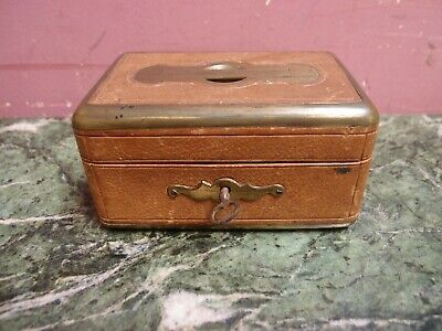 SMALL ANTIQUE VICTORIAN LEATHER & BRASS BOUND TRINKET JEWELLERY BOX c.1900