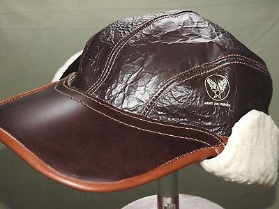 US Army AAF WW2 EASTMAN B-17 BOMBER B-2 SHEEPSKIN LEATHER GUNNER FLIGHT CAP Hat
