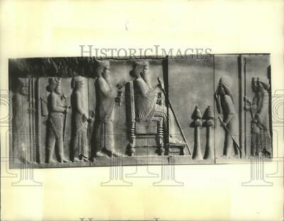 1936 Press Photo Ancient Iranian Wall Relief of Darius The Great & Xerxes
