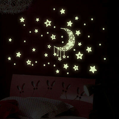 star moon glow in the dark luminous ceiling wall stickers kids bedroom decal TK