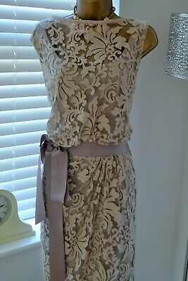 ~ TADASHI SHOJI ~ Designer Nude Lace Dress Size 16 18 Suit Mother of the Bride