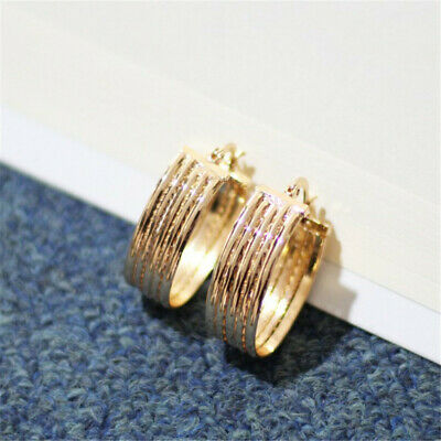Round Golden Multi-Ring Thick Circle Earrings Woman Classic Gift Flawless