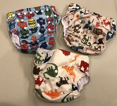 NEW~Lot 3~LBB~Cloth Reusable Baby Diapers~Dinosaurs Animals~Adjustable~Pocket