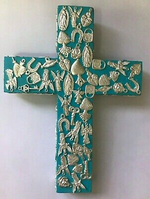 "Hand Made Milagros Wood Cross , Hand  Painted , Gifts , 8.5' X 6.5"" , Turquoise"