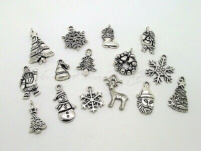 15 x Mixed Christmas Theme Charms ~ Tibetan Style Antique Silver ~ 10mm to 29mm