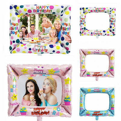 Aluminium Foil Balloons Photo Frame Props Kids Happy Birthday Party Decoration