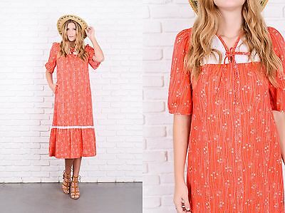 Vintage 70s Red Boho Prairie Dress Floral Lace Print A Line Maxi Small S