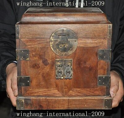 "10""old chinese huanghuali wood Hand carved drawer Jewelry Box storage box statue"