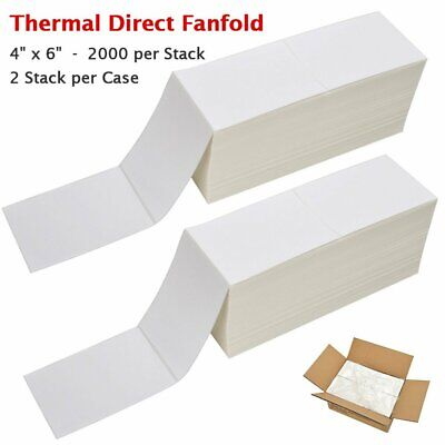 12,000 Labels for Zebra Industrial Printers 4x2 Direct Thermal Labels Fanfold 2 Stacks of 6,000