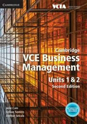 NEW Cambridge VCE Business Management Units 1 and 2 By Julie Cain Free Shipping