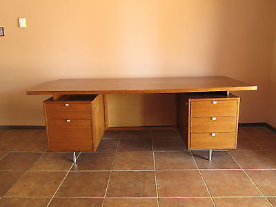 George Nelson Herman Miller 2 Pedestal Walnut Executive Desk 36x84in c1960 Eames