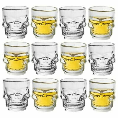 12-Pack Skull Shot Glass for Pirate Theme Party, Vodka, Tequila, Whiskey, 1.6 oz