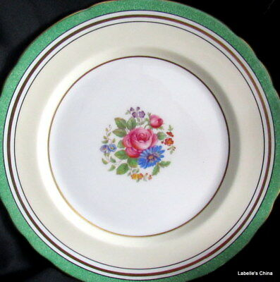 "Aynsley England 8"" Salad Plate Green Flowers 7359 English Bone China Gilt Trim"