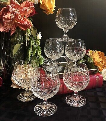 Vintage Brandy Snifters Cut Lead Crystal glasses Bohemian Barware Set of 6 heavy