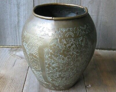 Antique Bronze Copper Vase Vessel Weathered Vintage Rustic China 1920-1949 Asian