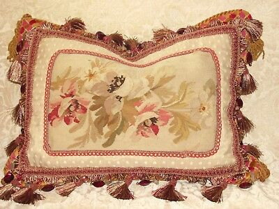 AUTHENTIC ANTIQUE 19th c FRENCH AUBUSSON TAPESTRY PILLOW ~ FLORAL