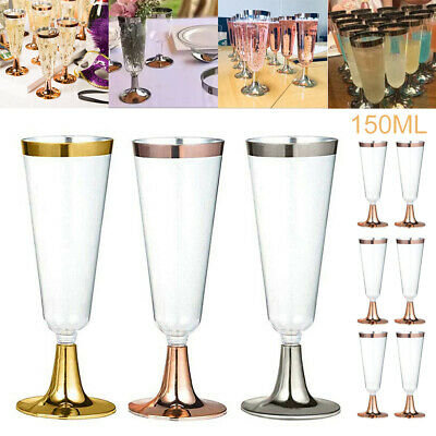 6Pc Disposable Plastic Wine Glasses Cup Champagne Flute Goblet Cocktail Drinking