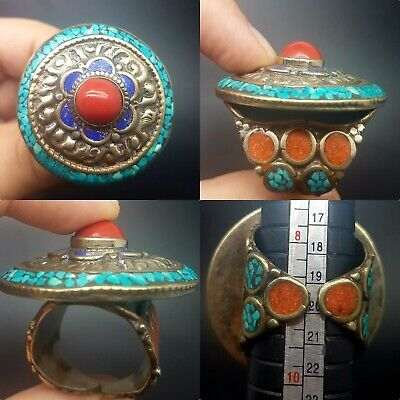 Lovely lapis and turquoise stone silver plated Coral unique beautiful ring