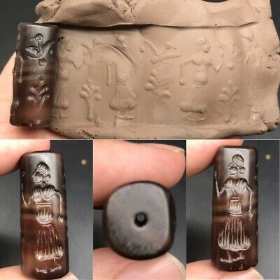 Unique rare ancient old agate intaglio lovely seal bead