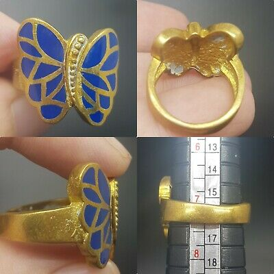 Beautiful lapis lazuli butterfly gold plated lovely ring