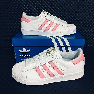 *NEW* ADIDAS SUPERSTAR C (Kids Size 11) Shell Toe Skate Shoes Girls White Pink