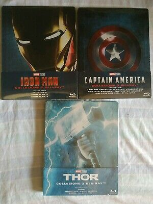 Thor + Iron Man + Captain America Trilogia Steelbook Bluray Marvel Studios