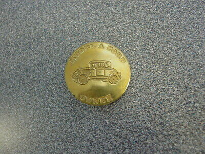 Antique Brass Original Model A - Ford Owners Jacket Pin Badge Button