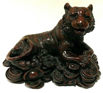 Vintage Asian Treasure Guarding Tiger Figuring Heavy Bronze Brown Detailed