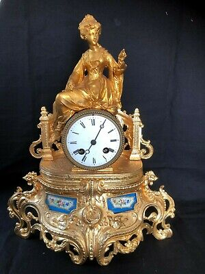 Antique Gilded  French Ormolu and Sevres Porcelain Clock