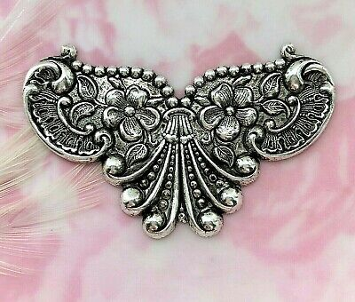 ANTIQUE SILVER Ornate Scroll Flower Cartouche Stamping ~ Jewelry Finding (C-801)