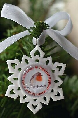 Robins Appear When Loved Ones Ar Near Christmas Tree Charm Snowflake Bauble Gift