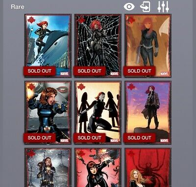 Topps Marvel Collect Card Trader Showcase Black Widow Set of 10:  Award Ready