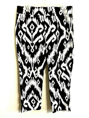 Chicos So Slimming Womens 2.5 Crop Brown White Ikat Design Capri Stretch Pants