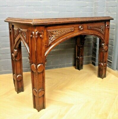 Antique Victorian Carved Pine Table Ecclesiastical Church Side Table Hall Table