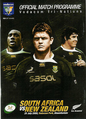 SOUTH AFRICA v NEW ZEALAND 25 Jul 2009 RUGBY PROGRAMME at BLOEMFONTEIN