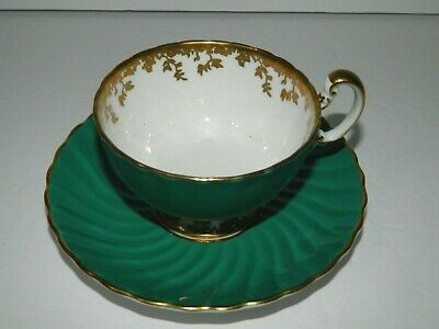 Aynsley Teal Green with Gold Footed Teacup and Saucer Tea Cup 1930s