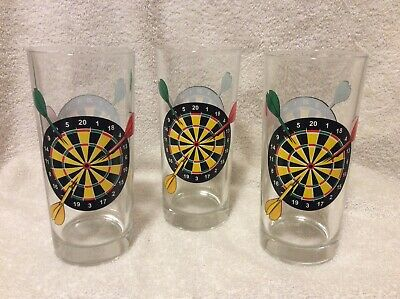 """3 Darts And Dartboard - Beer Glass - Made In Italy - 6 1/4"""" Tall Qq"""