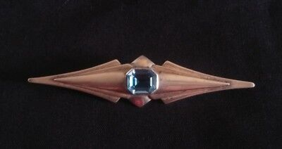 Aquamarine Art Deco Denmark Large Pin Brooch Sterling Silver 3.75""